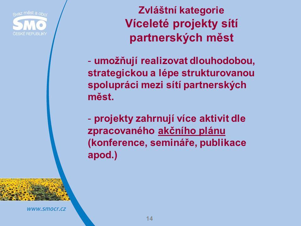 14 Zvláštní kategorie Víceleté projekty sítí partnerských měst - umožňují realizovat dlouhodobou, strategickou a lépe strukturovanou spolupráci mezi sítí partnerských měst.