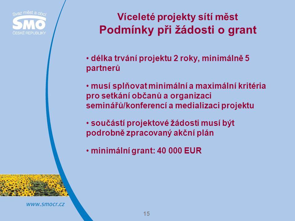 15 Víceleté projekty sítí měst Podmínky při žádosti o grant délka trvání projektu 2 roky, minimálně 5 partnerů musí splňovat minimální a maximální kritéria pro setkání občanů a organizaci seminářů/konferencí a medializaci projektu součástí projektové žádosti musí být podrobně zpracovaný akční plán minimální grant: 40 000 EUR
