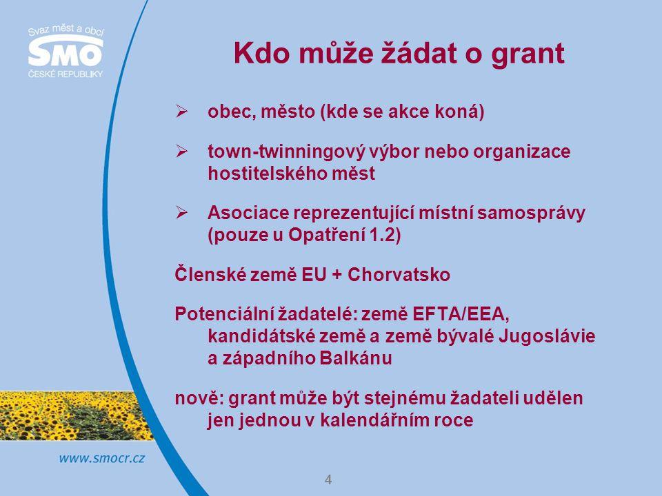 4 Kdo může žádat o grant  obec, město (kde se akce koná)  town-twinningový výbor nebo organizace hostitelského měst  Asociace reprezentující místní samosprávy (pouze u Opatření 1.2) Členské země EU + Chorvatsko Potenciální žadatelé: země EFTA/EEA, kandidátské země a země bývalé Jugoslávie a západního Balkánu nově: grant může být stejnému žadateli udělen jen jednou v kalendářním roce