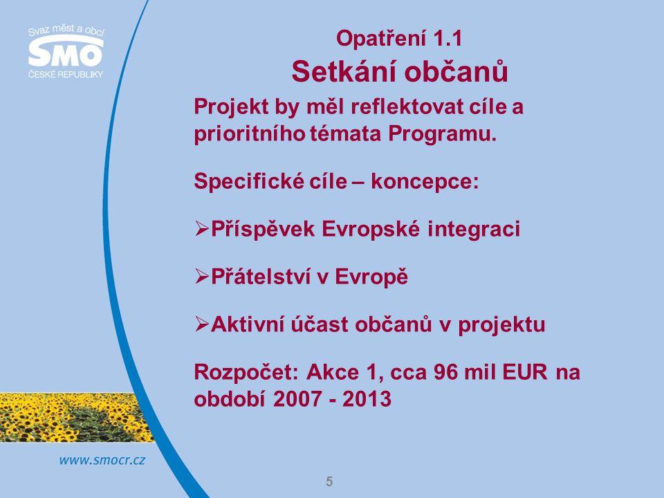 5 Opatření 1.1 Setkání občanů Projekt by měl reflektovat cíle a prioritního témata Programu.