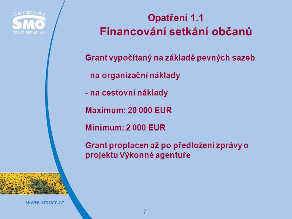 7 Opatření 1.1 Financování setkání občanů Grant vypočítaný na základě pevných sazeb - na organizační náklady - na cestovní náklady Maximum: 20 000 EUR Minimum: 2 000 EUR Grant proplacen až po předložení zprávy o projektu Výkonné agentuře
