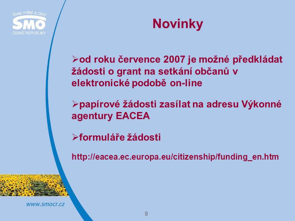 9 Novinky  od roku července 2007 je možné předkládat žádosti o grant na setkání občanů v elektronické podobě on-line  papírové žádosti zasílat na adresu Výkonné agentury EACEA  formuláře žádosti http://eacea.ec.europa.eu/citizenship/funding_en.htm