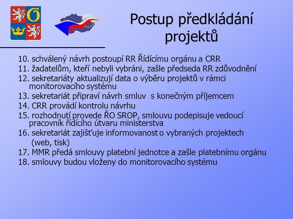 Postup předkládání projektů 10. schválený návrh postoupí RR Řídícímu orgánu a CRR 11.
