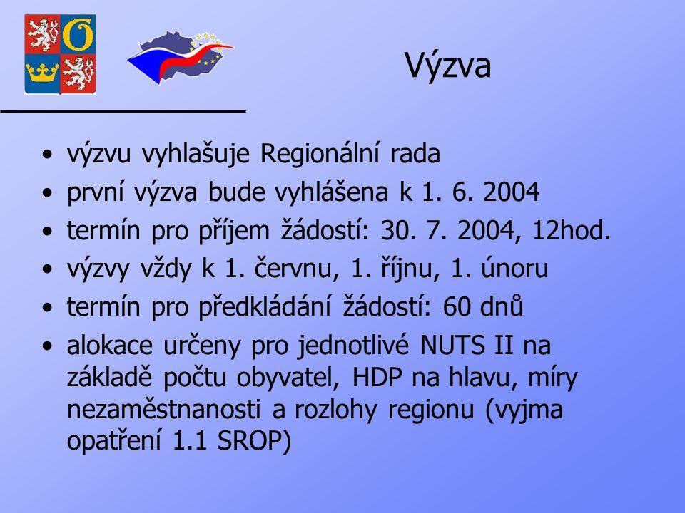 Výzva výzvu vyhlašuje Regionální rada první výzva bude vyhlášena k 1.