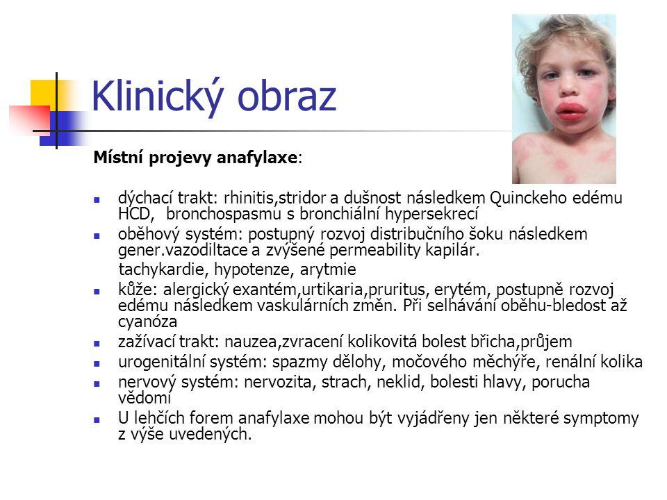 Klinický obraz Místní projevy anafylaxe: dýchací trakt: rhinitis,stridor a dušnost následkem Quinckeho edému HCD, bronchospasmu s bronchiální hypersek