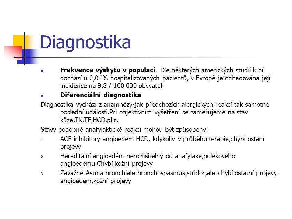 Diagnostika Frekvence výskytu v populaci. Dle některých amerických studií k ní dochází u 0,04% hospitalizovaných pacientů, v Evropě je odhadována její