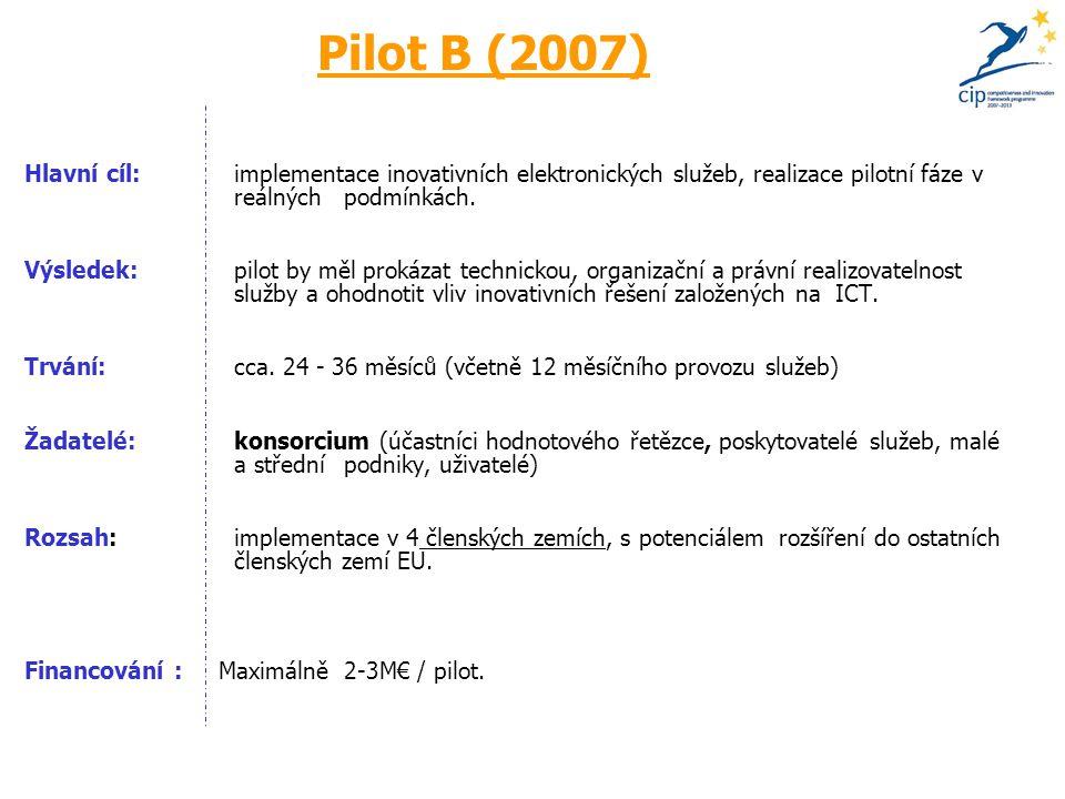 Pilot B (2007) Hlavní cíl: implementace inovativních elektronických služeb, realizace pilotní fáze v reálných podmínkách.