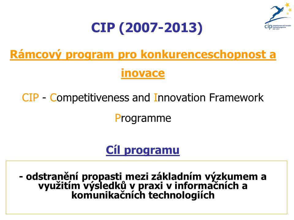 CIP (2007-2013) Rámcový program pro konkurenceschopnost a inovace CIP - Competitiveness and Innovation Framework Programme Cíl programu - odstranění propasti mezi základním výzkumem a využitím výsledků v praxi v informačních a komunikačních technologiích