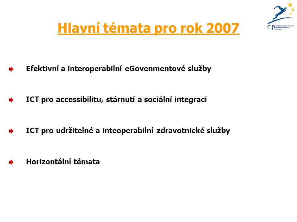 Hlavní témata pro rok 2007 Efektivní a interoperabilní eGovenmentové služby ICT pro accessibilitu, stárnutí a sociální integraci ICT pro udržitelné a inteoperabilní zdravotnické služby Horizontální témata