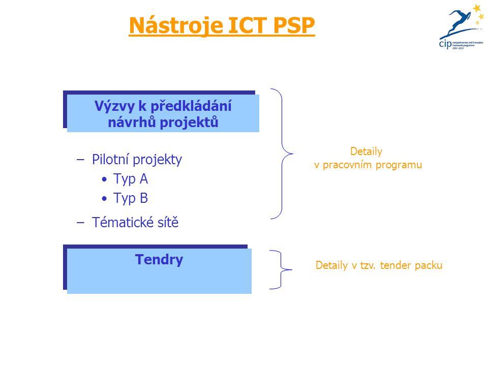 Nástroje ICT PSP –Pilotní projekty Typ A Typ B –Tématické sítě Detaily v pracovním programu Detaily v tzv.