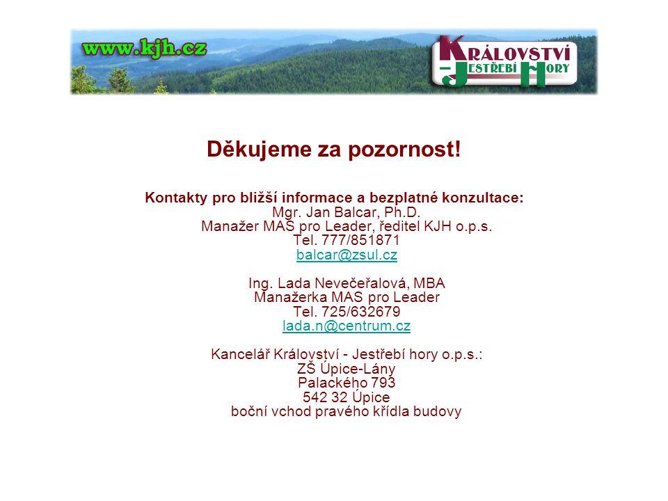 Děkujeme za pozornost. Kontakty pro bližší informace a bezplatné konzultace: Mgr.