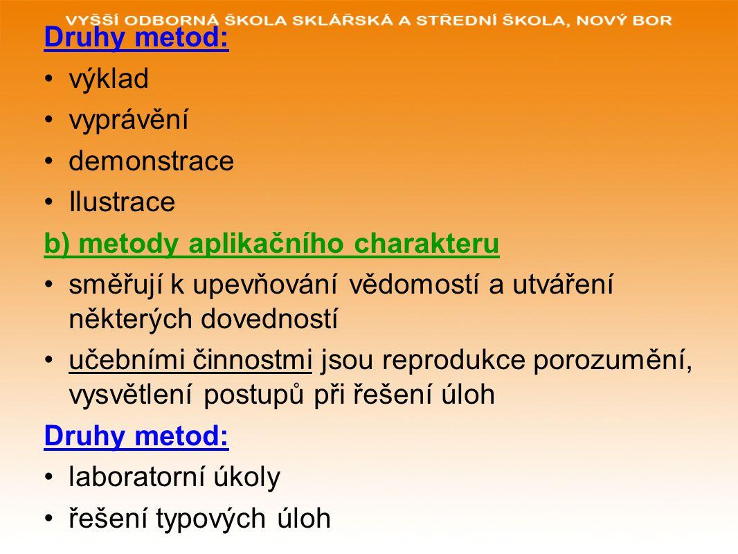 c) metody aktivizující žák je aktivní v poznávacím procesu, zapojuje se do řešení problémů, odhaluje vztahy, vyvozuje závěry, srovnává jevy, posuzuje, hodnotí, argumentuje učební činností je práce samostatně, kooperace Druhy metod: problémový výklad skupinové řešení problému didaktická hra