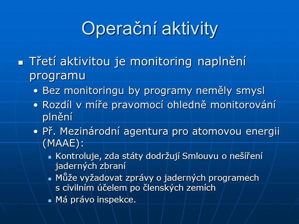Operační aktivity Třetí aktivitou je monitoring naplnění programu Třetí aktivitou je monitoring naplnění programu Bez monitoringu by programy neměly s