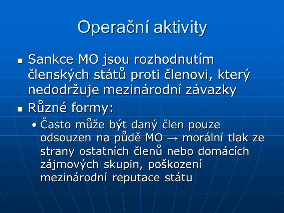 Operační aktivity Sankce MO jsou rozhodnutím členských států proti členovi, který nedodržuje mezinárodní závazky Sankce MO jsou rozhodnutím členských