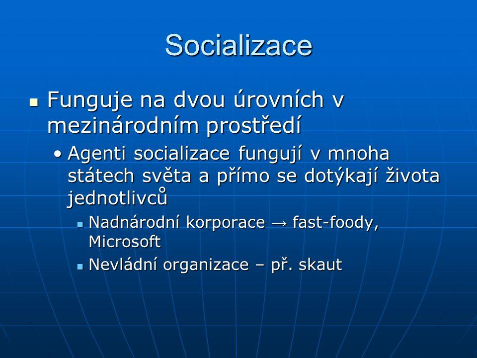 Socializace Funguje na dvou úrovních v mezinárodním prostředí Funguje na dvou úrovních v mezinárodním prostředí Agenti socializace fungují v mnoha stá
