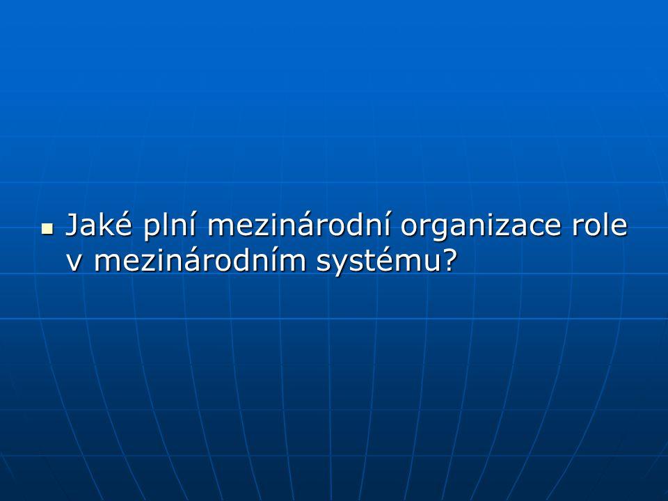 Jaké plní mezinárodní organizace role v mezinárodním systému? Jaké plní mezinárodní organizace role v mezinárodním systému?