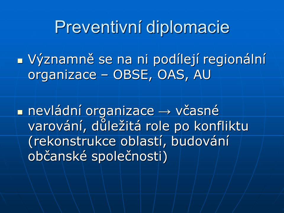 Preventivní diplomacie Významně se na ni podílejí regionální organizace – OBSE, OAS, AU Významně se na ni podílejí regionální organizace – OBSE, OAS,