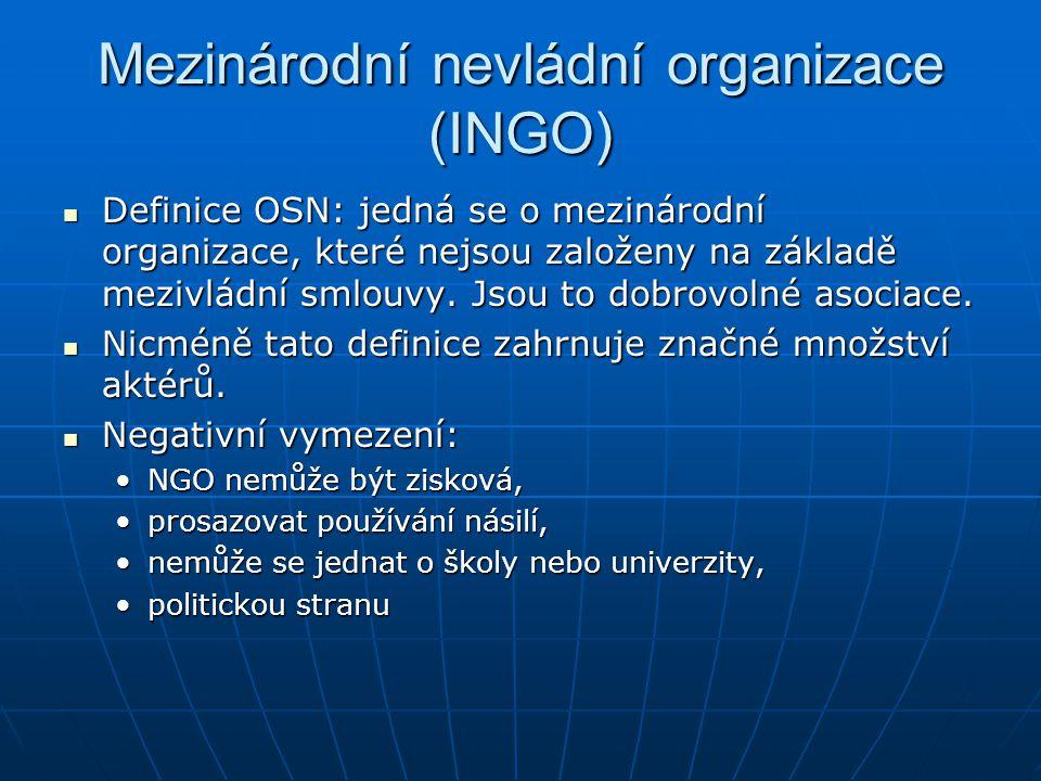 Mezinárodní nevládní organizace (INGO) Definice OSN: jedná se o mezinárodní organizace, které nejsou založeny na základě mezivládní smlouvy. Jsou to d