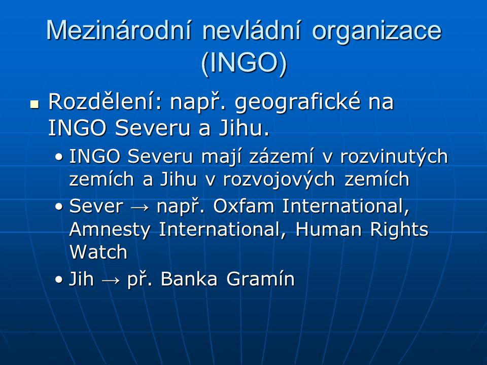 Mezinárodní nevládní organizace (INGO) Rozdělení: např. geografické na INGO Severu a Jihu. Rozdělení: např. geografické na INGO Severu a Jihu. INGO Se