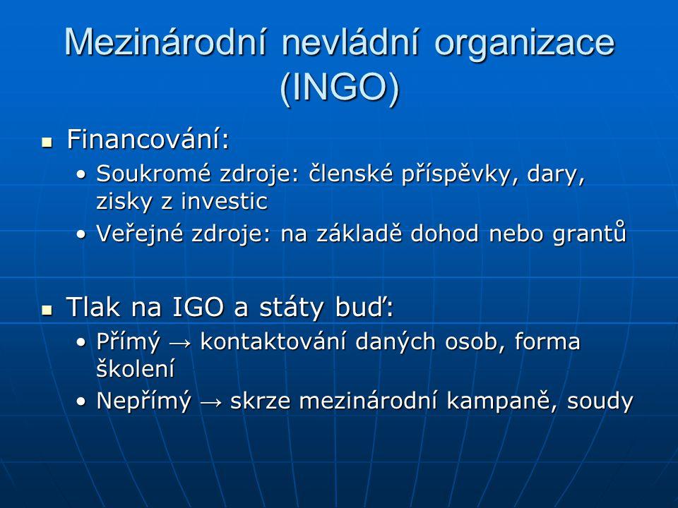 Mezinárodní nevládní organizace (INGO) Financování: Financování: Soukromé zdroje: členské příspěvky, dary, zisky z investicSoukromé zdroje: členské př