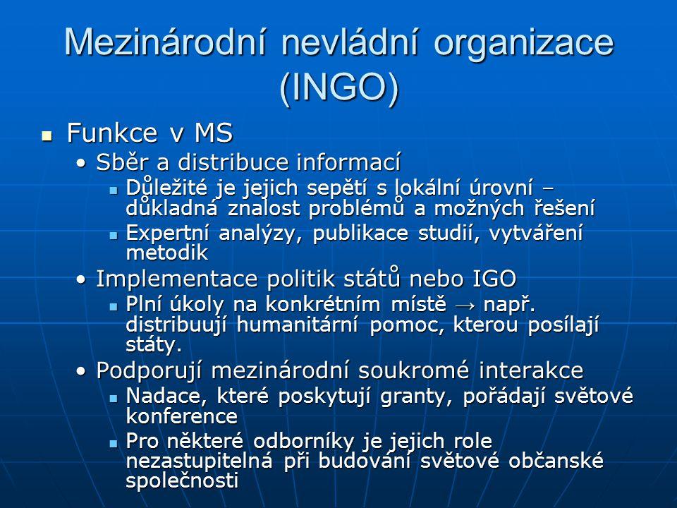Mezinárodní nevládní organizace (INGO) Funkce v MS Funkce v MS Sběr a distribuce informacíSběr a distribuce informací Důležité je jejich sepětí s loká