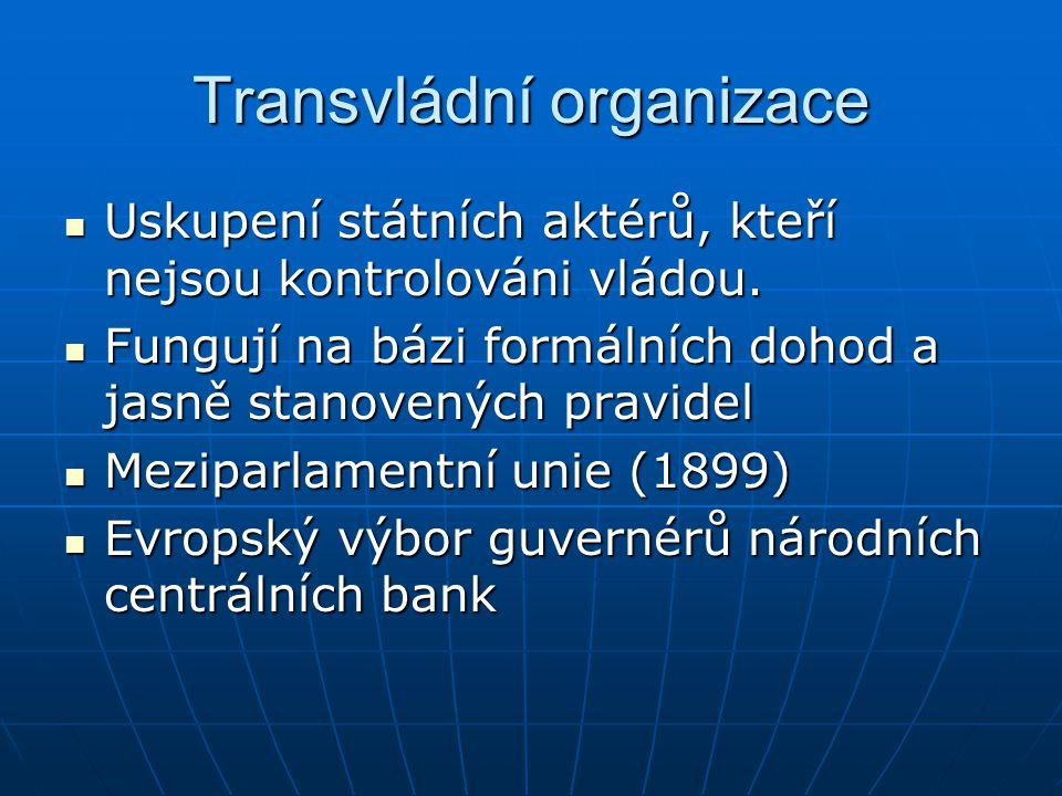 Transvládní organizace Uskupení státních aktérů, kteří nejsou kontrolováni vládou. Uskupení státních aktérů, kteří nejsou kontrolováni vládou. Fungují