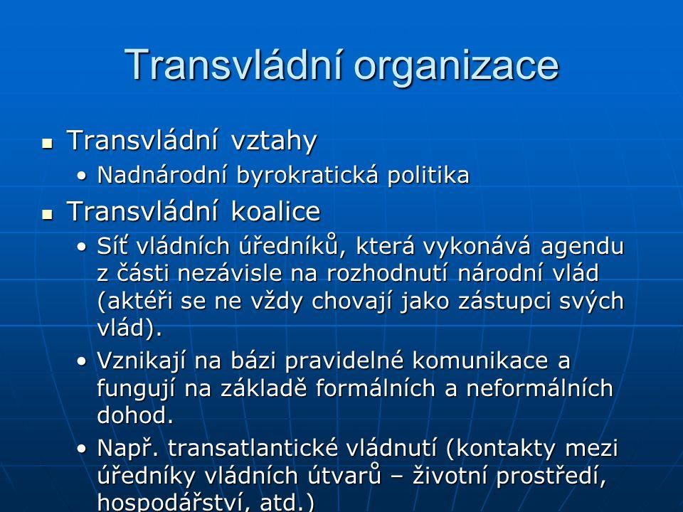 Transvládní organizace Transvládní vztahy Transvládní vztahy Nadnárodní byrokratická politikaNadnárodní byrokratická politika Transvládní koalice Tran