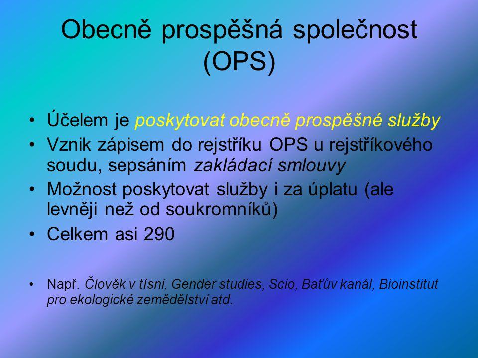 Obecně prospěšná společnost (OPS) Účelem je poskytovat obecně prospěšné služby Vznik zápisem do rejstříku OPS u rejstříkového soudu, sepsáním zakládac