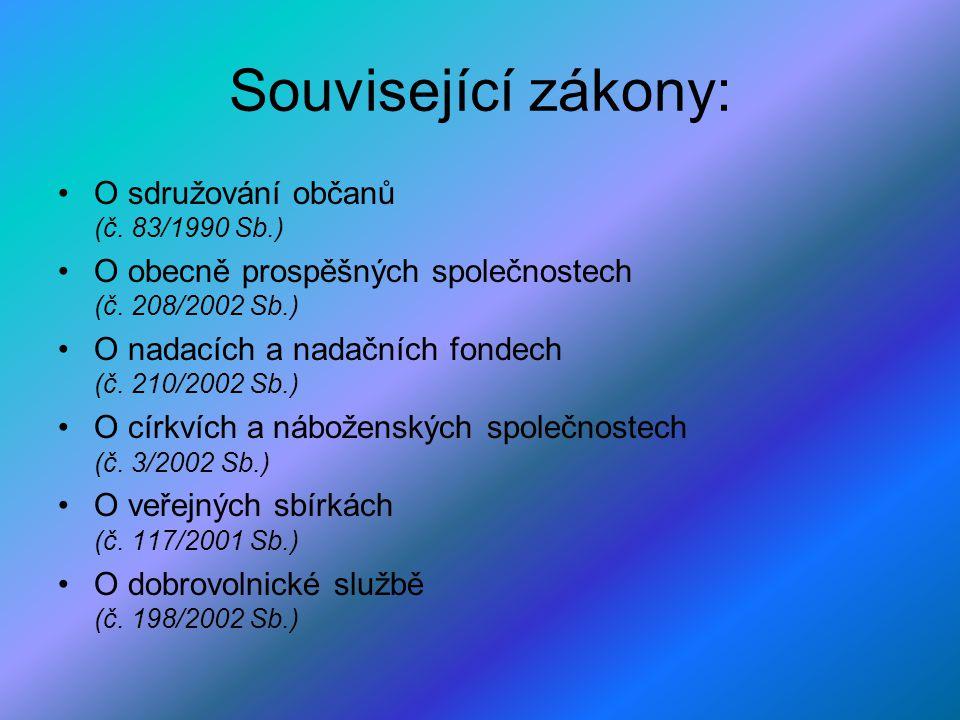 Související zákony: O sdružování občanů (č.83/1990 Sb.) O obecně prospěšných společnostech (č.