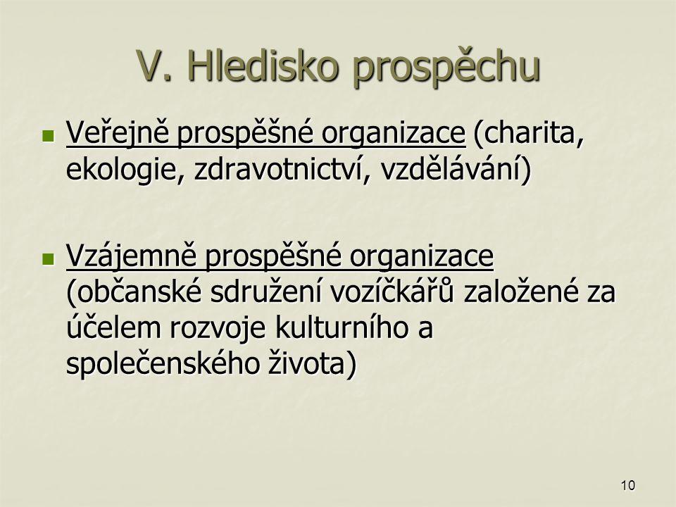 10 V. Hledisko prospěchu Veřejně prospěšné organizace (charita, ekologie, zdravotnictví, vzdělávání) Veřejně prospěšné organizace (charita, ekologie,