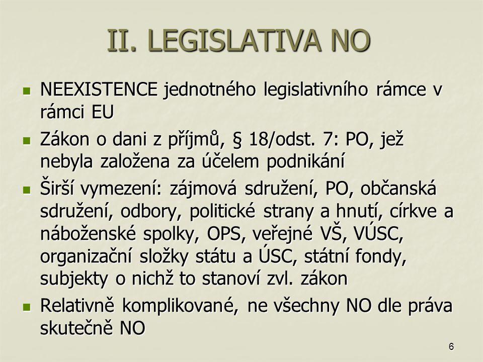 6 II. LEGISLATIVA NO NEEXISTENCE jednotného legislativního rámce v rámci EU NEEXISTENCE jednotného legislativního rámce v rámci EU Zákon o dani z příj