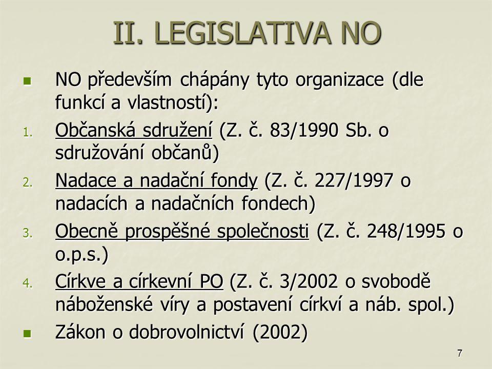 7 II. LEGISLATIVA NO NO především chápány tyto organizace (dle funkcí a vlastností): NO především chápány tyto organizace (dle funkcí a vlastností): 1