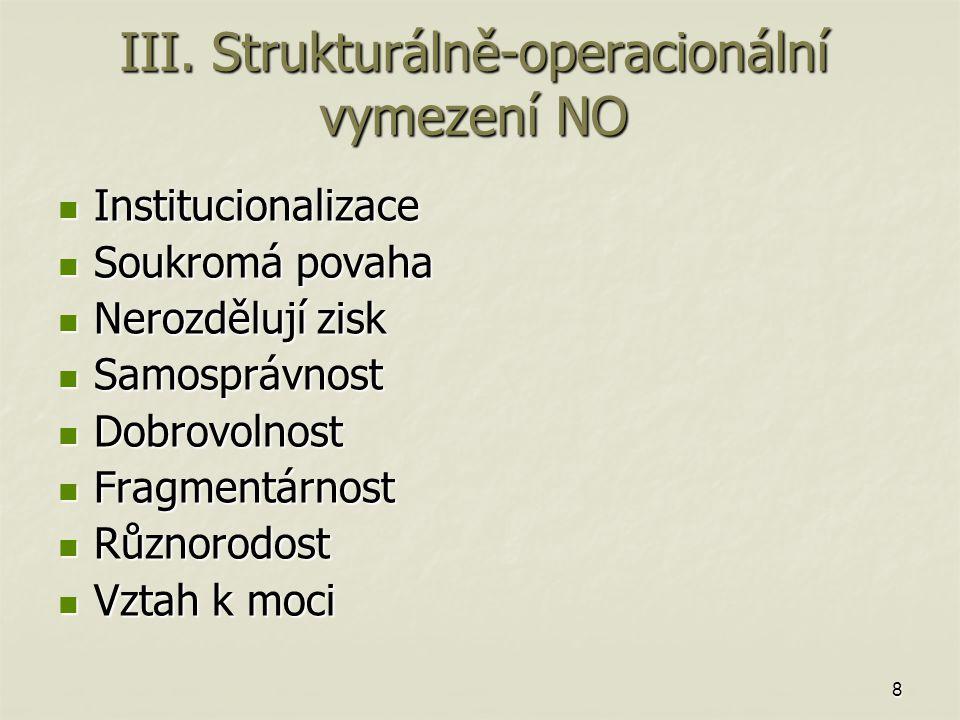 8 III. Strukturálně-operacionální vymezení NO Institucionalizace Institucionalizace Soukromá povaha Soukromá povaha Nerozdělují zisk Nerozdělují zisk