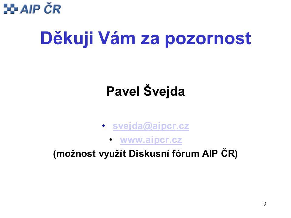 9 Děkuji Vám za pozornost Pavel Švejda svejda@aipcr.cz www.aipcr.cz (možnost využít Diskusní fórum AIP ČR)
