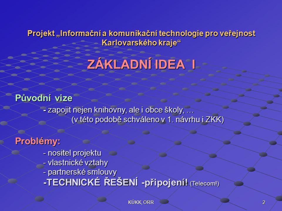 """2KÚKK, ORR Projekt """"Informační a komunikační technologie pro veřejnost Karlovarského kraje ZÁKLADNÍ IDEA I Původní vize - zapojit nejen knihovny, ale i obce školy, … (v této podobě schváleno v 1."""