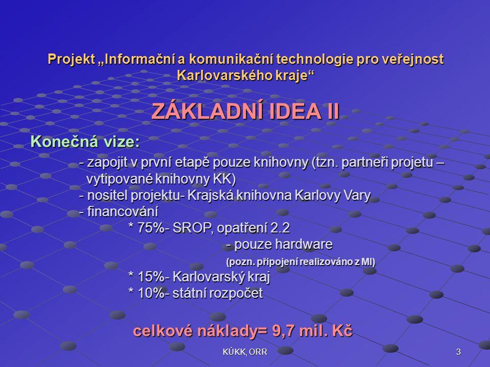 """3KÚKK, ORR Projekt """"Informační a komunikační technologie pro veřejnost Karlovarského kraje ZÁKLADNÍ IDEA II Konečná vize: - zapojit v první etapě pouze knihovny (tzn."""