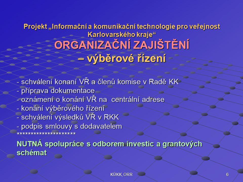 """6KÚKK, ORR Projekt """"Informační a komunikační technologie pro veřejnost Karlovarského kraje ORGANIZAČNÍ ZAJIŠTĚNÍ – výběrové řízení - schválení konaní VŘ a členů komise v Radě KK - příprava dokumentace - oznámení o konání VŘ na centrální adrese - konání výběrového řízení - schválení výsledků VŘ v RKK - podpis smlouvy s dodavatelem ********************* NUTNÁ spolupráce s odborem investic a grantových schémat"""