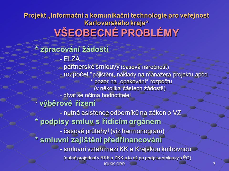 """7KÚKK, ORR Projekt """"Informační a komunikační technologie pro veřejnost Karlovarského kraje VŠEOBECNÉ PROBLÉMY * zpracování žádosti - ELZA - partnerské smlouvy (časová náročnost) - rozpočet * pojištění, náklady na manažera projektu apod."""