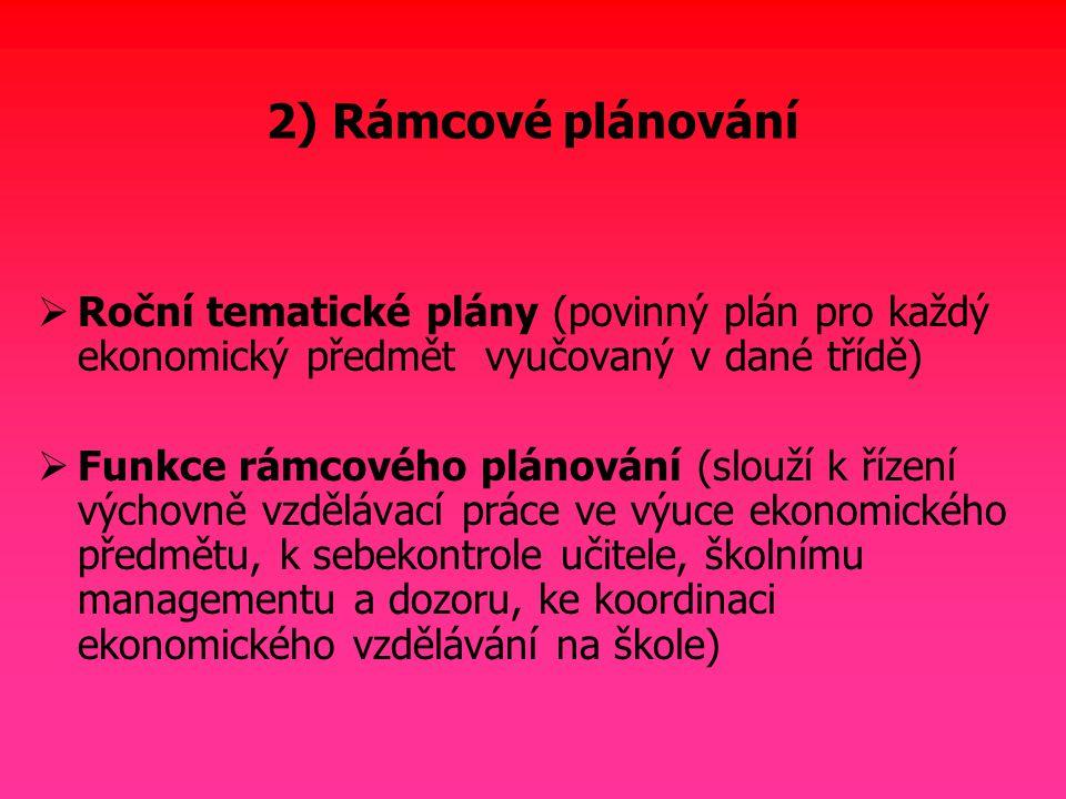 2) Rámcové plánování  Roční tematické plány (povinný plán pro každý ekonomický předmět vyučovaný v dané třídě)  Funkce rámcového plánování (slouží k