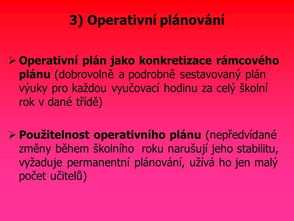 3) Operativní plánování  Operativní plán jako konkretizace rámcového plánu (dobrovolně a podrobně sestavovaný plán výuky pro každou vyučovací hodinu
