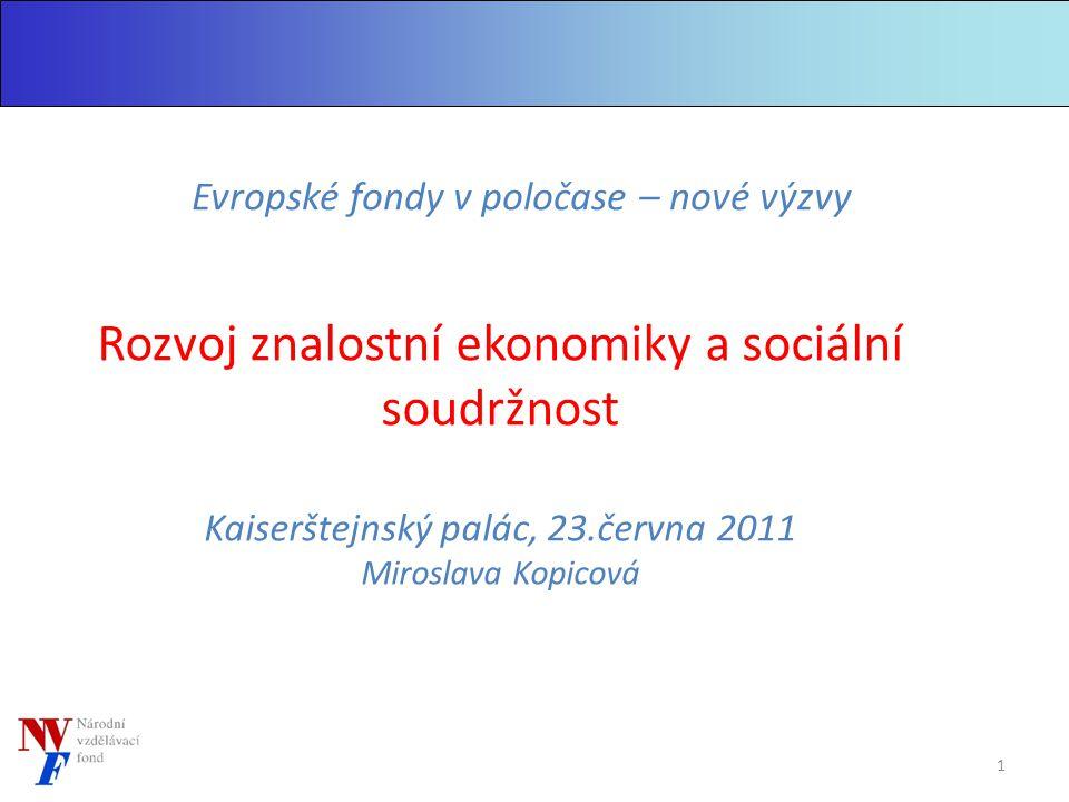 Rozvoj znalostní ekonomiky a sociální soudržnost Kaiserštejnský palác, 23.června 2011 Miroslava Kopicová Evropské fondy v poločase – nové výzvy 1