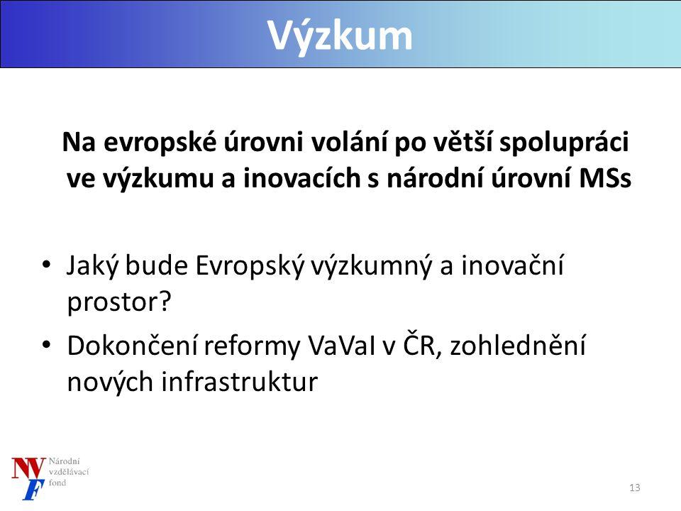 Na evropské úrovni volání po větší spolupráci ve výzkumu a inovacích s národní úrovní MSs Jaký bude Evropský výzkumný a inovační prostor.