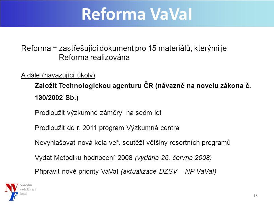 Reforma VaVaI Reforma = zastřešující dokument pro 15 materiálů, kterými je Reforma realizována A dále (navazující úkoly) Založit Technologickou agenturu ČR (návazně na novelu zákona č.