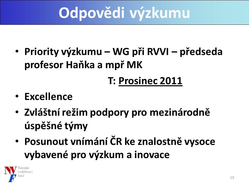 Priority výzkumu – WG při RVVI – předseda profesor Haňka a mpř MK T: Prosinec 2011 Excellence Zvláštní režim podpory pro mezinárodně úspěšné týmy Posunout vnímání ČR ke znalostně vysoce vybavené pro výzkum a inovace Odpovědi výzkumu 16