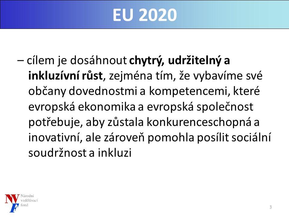 – cílem je dosáhnout chytrý, udržitelný a inkluzívní růst, zejména tím, že vybavíme své občany dovednostmi a kompetencemi, které evropská ekonomika a evropská společnost potřebuje, aby zůstala konkurenceschopná a inovativní, ale zároveň pomohla posílit sociální soudržnost a inkluzi EU 2020 3