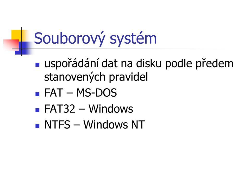 Souborový systém uspořádání dat na disku podle předem stanovených pravidel FAT – MS-DOS FAT32 – Windows NTFS – Windows NT