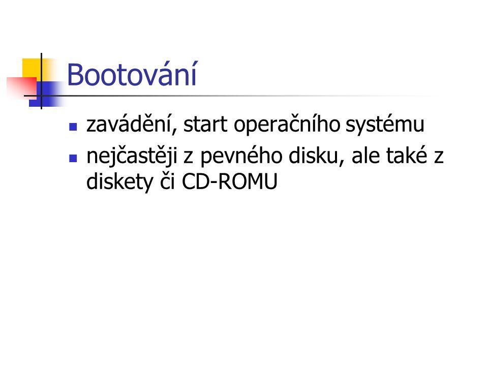 Bootování zavádění, start operačního systému nejčastěji z pevného disku, ale také z diskety či CD-ROMU