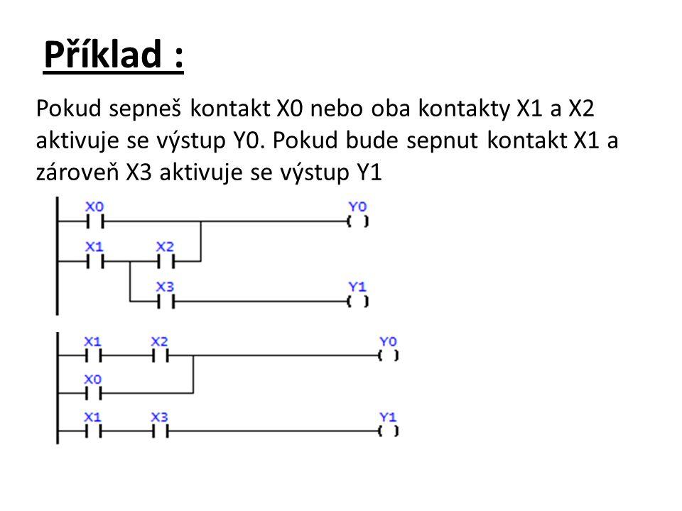 Příklad : Pokud sepneš kontakt X0 nebo oba kontakty X1 a X2 aktivuje se výstup Y0. Pokud bude sepnut kontakt X1 a zároveň X3 aktivuje se výstup Y1