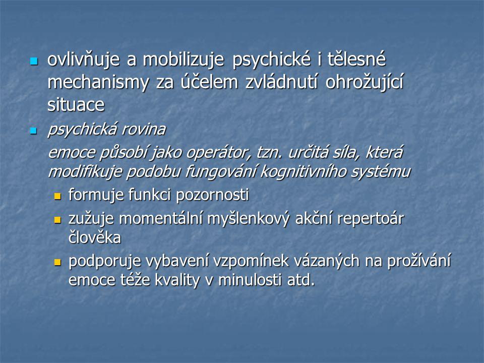 somatická rovina somatická rovina emoce strachu zabezpečuje optimální podmínky pro efektivní odpověď na situaci ohrožení zrychlené tempo srdeční činnosti a zesílení srdečního pulsu (což dále umožňuje rychlejší zásobení kyslíkem) zrychlené tempo srdeční činnosti a zesílení srdečního pulsu (což dále umožňuje rychlejší zásobení kyslíkem) kontrakce sleziny (což má za následek uvolňování uskladněných červených krvinek, které kyslík přenášejí) kontrakce sleziny (což má za následek uvolňování uskladněných červených krvinek, které kyslík přenášejí) prohlubování vdechu, krácení výdechu a dilatace bronchů pro zvýšení příjmu kyslíku prohlubování vdechu, krácení výdechu a dilatace bronchů pro zvýšení příjmu kyslíku uvolnění rezerv cukru z jater pro jeho užití ve svalech uvolnění rezerv cukru z jater pro jeho užití ve svalech přednostní zásobení krví oblasti mozku a svalů na úkor kůže a některých vnitřních orgánů (např.