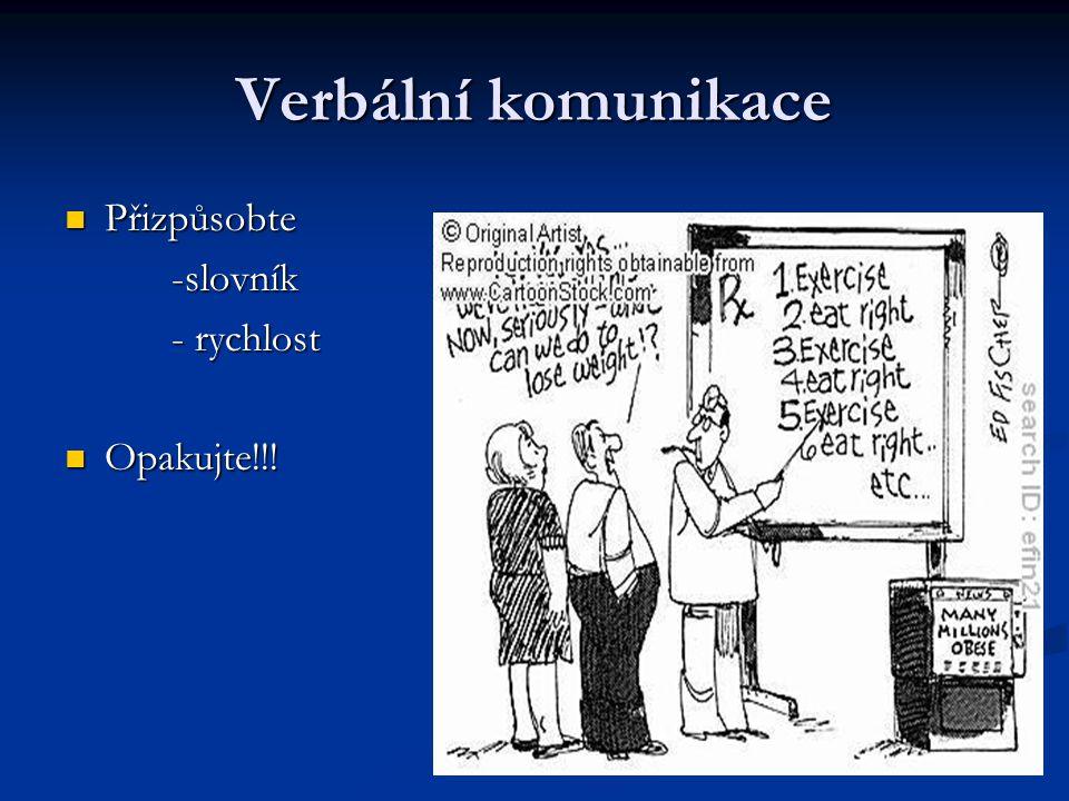 Verbální komunikace Přizpůsobte Přizpůsobte-slovník - rychlost Opakujte!!! Opakujte!!!